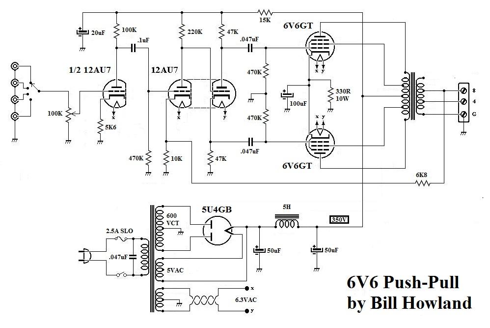 Push Pull 6V6 Amplifier Evil Science Audio