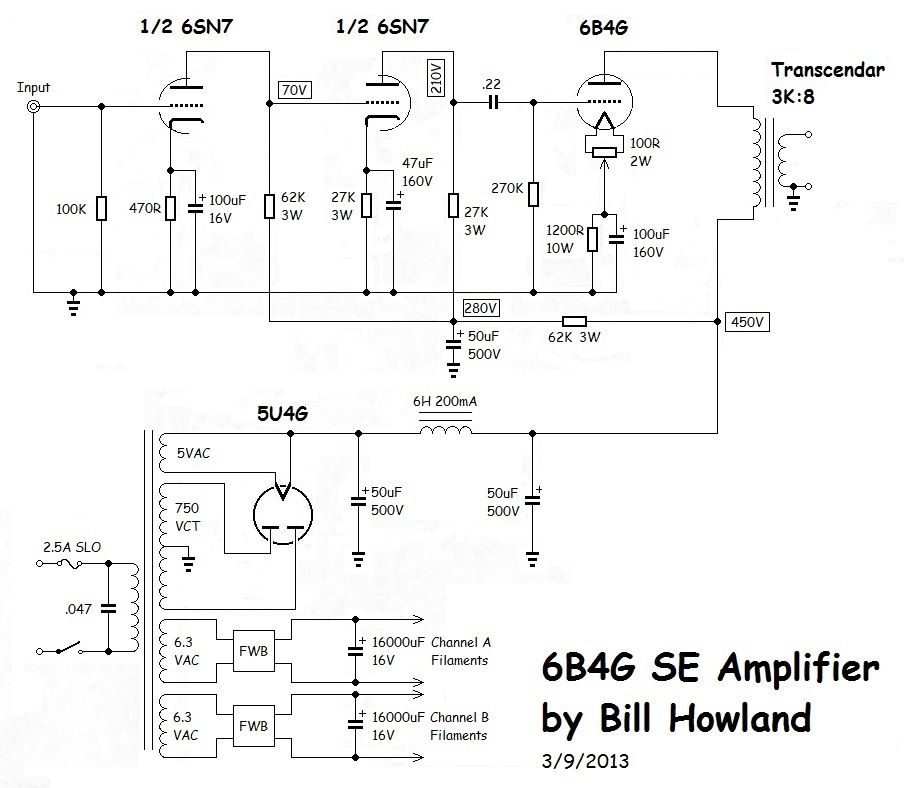 Single Ended 6b4g  lifier on simple amplifier schematics