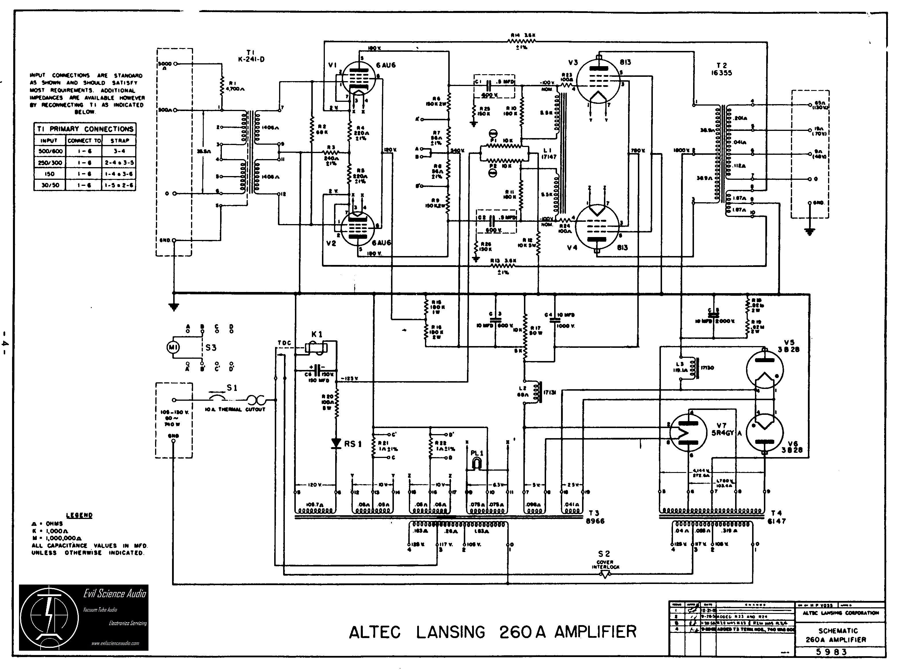 altec lansing 260a schematic hi fi schematics evil science audio Altec Bucket Wiring-Diagram at n-0.co