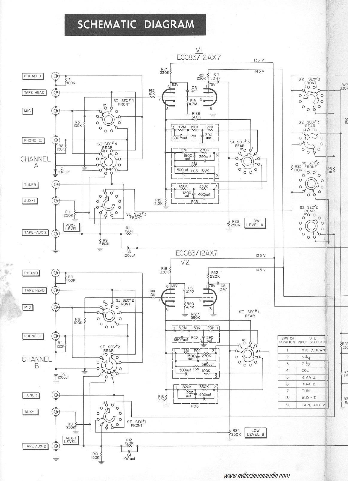 fisher ez v wiring diagram hi fi schematics evil science audio  hi fi schematics evil science audio