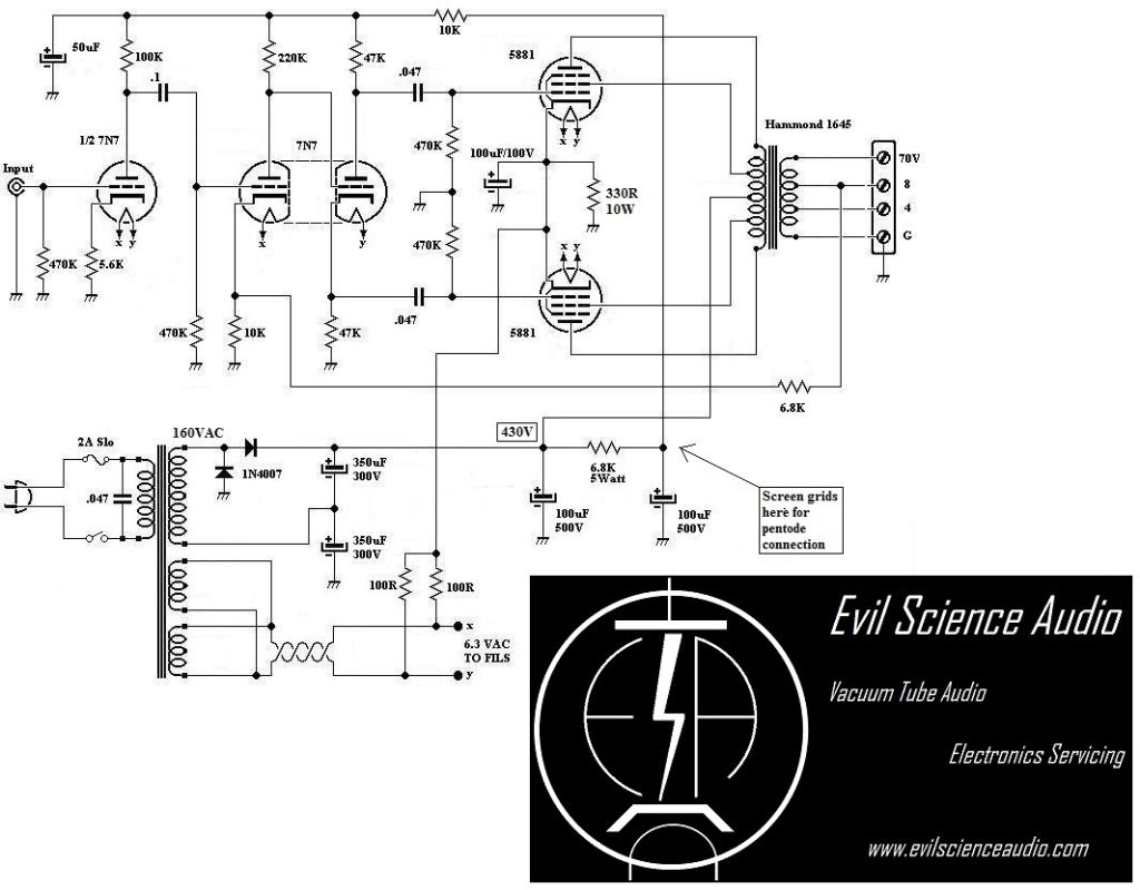 Push Pull 5881 6l6 Amplifier Evil Science Audio Tube Amp Diagram This Schematic Looks A Lot Like The 6v6 But Is Just Bigger And More Powerful Power Supply Mirrors That Of Fisher 400 Receiver