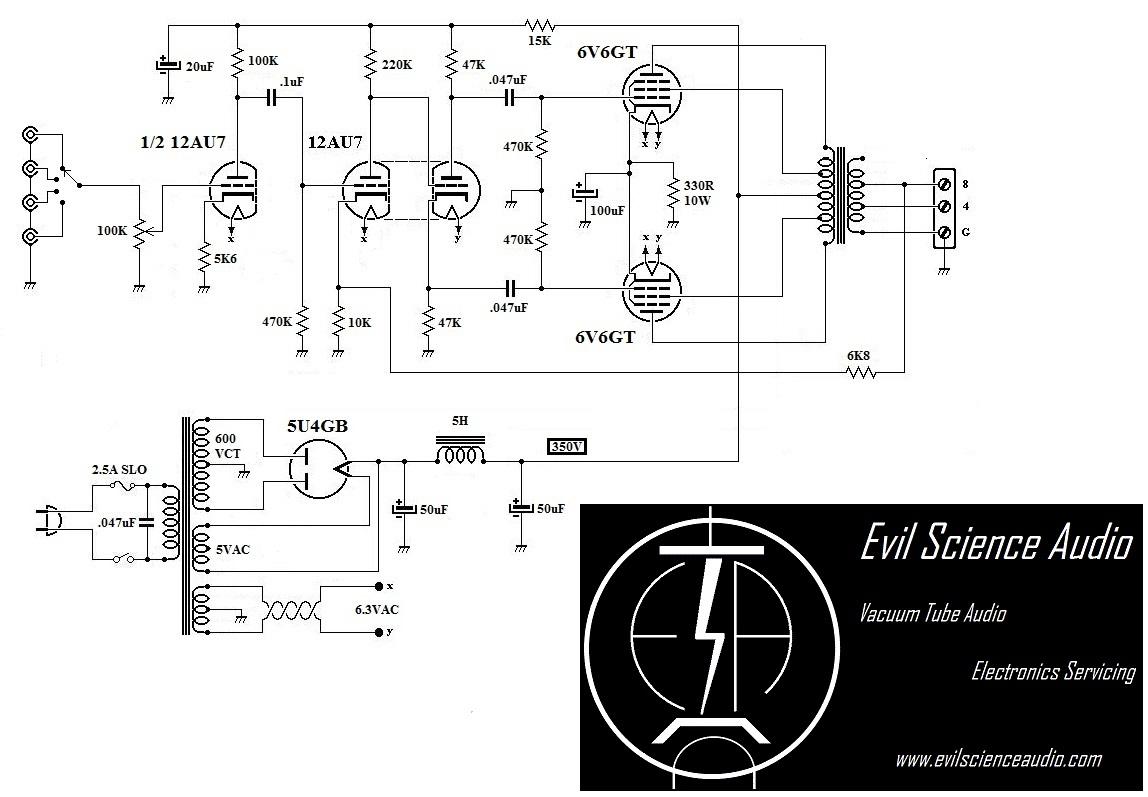 Pushpull 6v6 Lifier Evil Science Audiorhevilscienceaudio: Push Pull Schematic At Gmaili.net