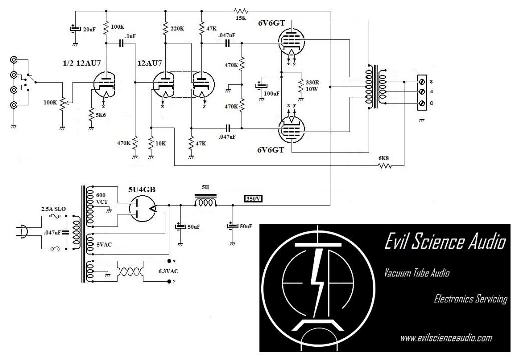 Push-Pull 6V6 Amplifier | Evil Science Audio